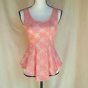 Poetry Pink Lace Peplum Top, NWOT